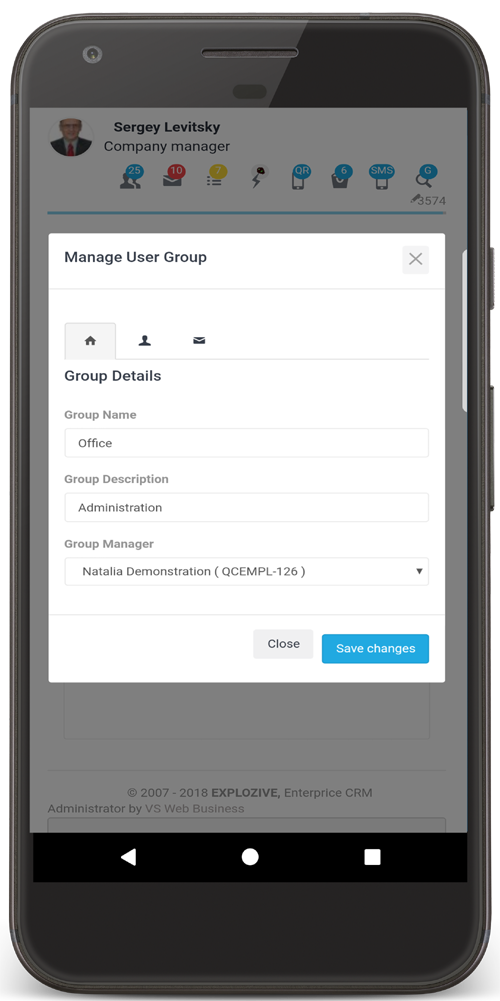 ERP-CRM mobile view
