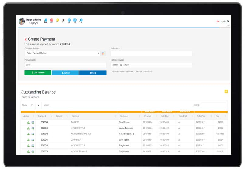 CRM invoices add payment